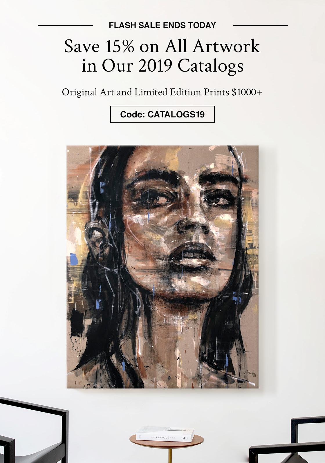 FLASH VENDA TERMINA AMANHÃ |  Economize 15% em todas as obras de arte em nossos catálogos de 2019 Arte original e edição limitada imprime $ 1000+ |  Código: CATÁLOGO19