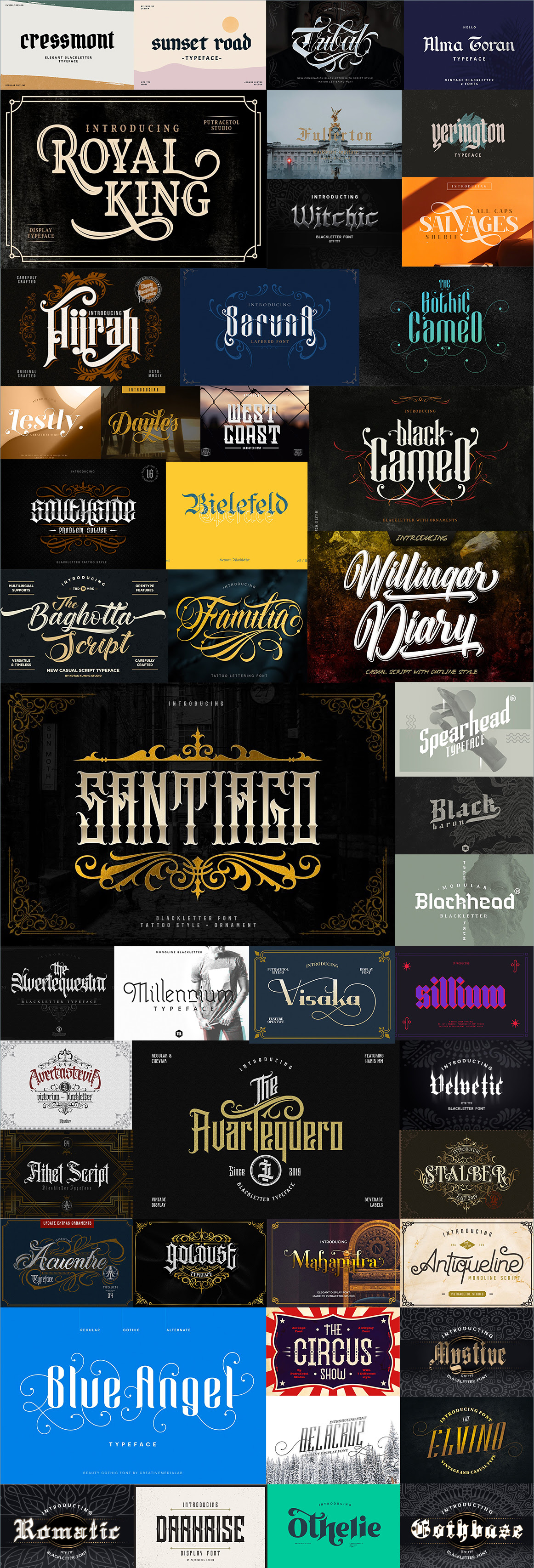 The Limited Edition Blackletter Fonts Bundle Overview