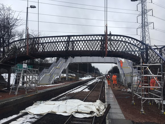 New station footbridge opens at Addiewell