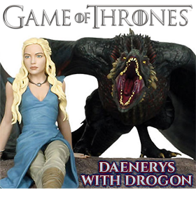 DAENERYS WITH DROGON STATUE
