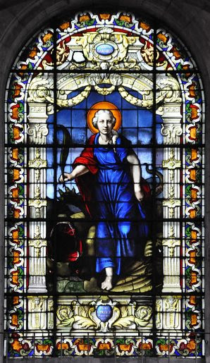 Sainte Marguerite, vitrail central de l'abside plate