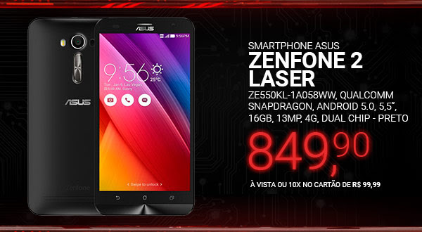 Smartphone Asus Zenfone 2 Laser ZE550KL-1A058WW, Qualcomm Snapdragon, Android 5.0, 5,5´, 16GB, 13MP, 4G, Dual Chip - Preto