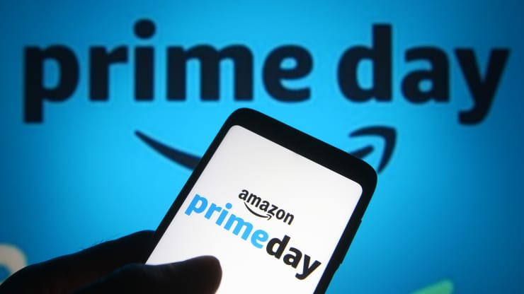 A smart phone reads, ''Amazon Prime Day''