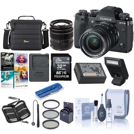 X-T3 26.1MP Mirrorless Camera with XF 18-55mm f/2.8-4 R LM OIS Lens, Black - Bundle With 3