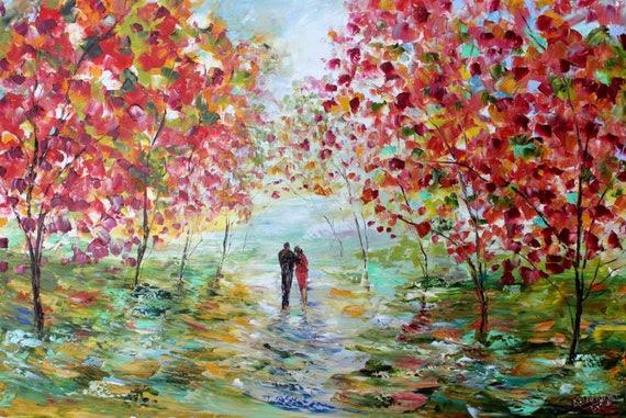 Original oil painting Autumn Romance Landscape palette knife modern texture fine art impressionism by Karen Tarlton
