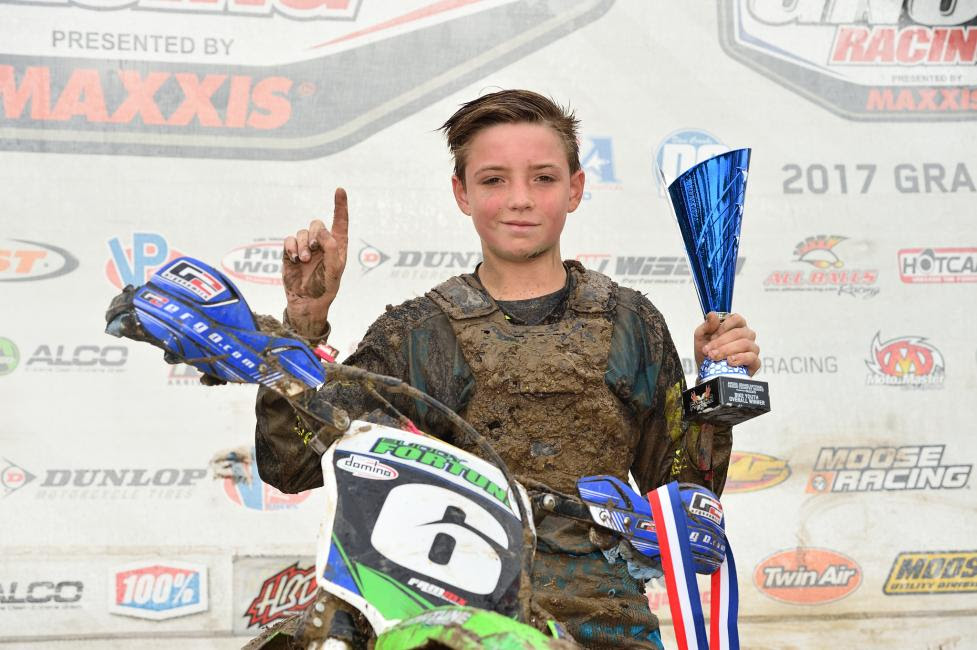 Tommy Fortune found himself on the top step of the podium at his first GNCC race of 2017 in the  9 a.m. bike youth race.