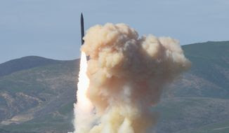 This photo provided by the Defense Department's Missile Defense Agency, taken Jan. 28, 2016, shows a long-range ground-based interceptor is launched from Vandenberg Air Force Base, Calif. As North Korea rattles its nuclear saber and threatens to bomb the U.S. at any moment, a nerve-jangling question hangs in the air: If North Korea did launch a nuclear-armed missile at an American city, could the Pentagons missile defenses shoot it down beyond U.S. shores? (Defense Department's Missile Defense  Agency via AP)