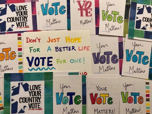 Posters with text: Your vote matters!