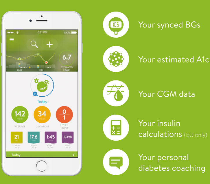 Screen of MySugr Diabetes Tracker Log app