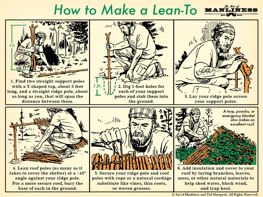 how to make a lean to in the woods illustration diagram