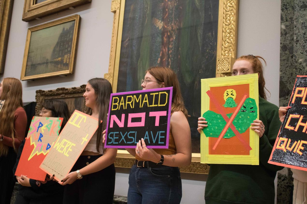 Students from Plymouth College of Art protest at Tate Britain 1