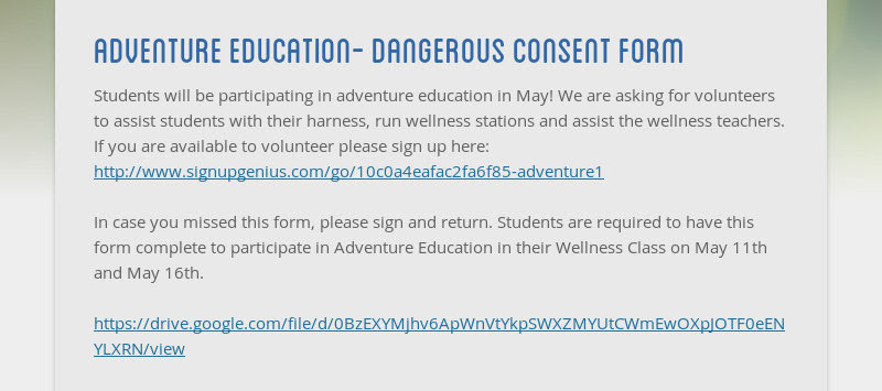 adventure education- dangerous consent form Students will be participating in adventure education in...