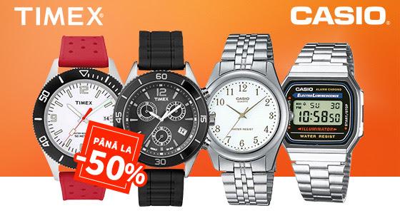 Cele mai vandute ceasuri Casio si Timex, livrare in 24 de ore