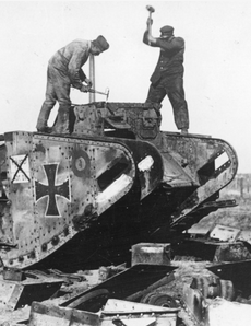German tank being demolished