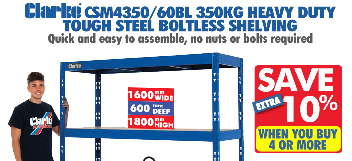 Clarke CSM4350/60BL 350kg Heavy Duty Tough Steel Boltless Shelving