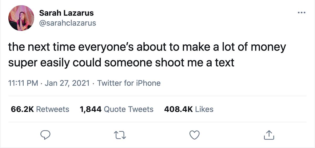 Tweet of Sarah Lazarus