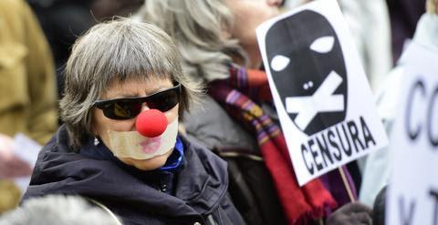 Protesta contra la 'ley Mordaza' en Madrid. AFP