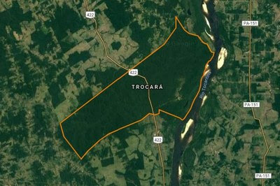 Mapa com a localização da terra indígena Trocará às margens do rio Tocantins nos municípios de Baião e Tucuruí, no Pará