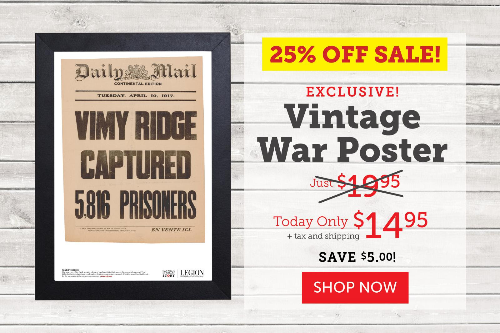 FLASH SALE! - 25% OFF - Vimy Ridge Captured Poster!