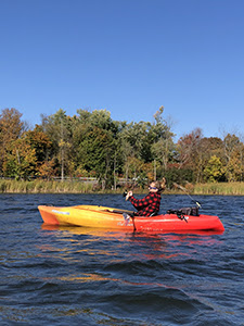 Angler fishing from kayak