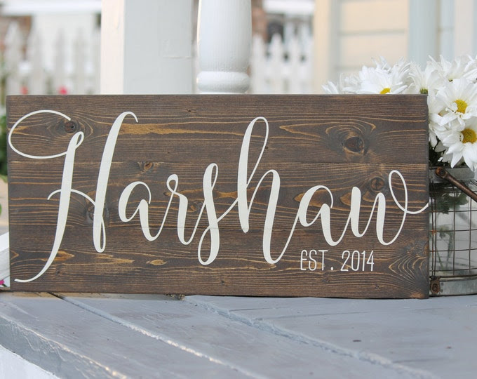 """Wedding date sign, Hand painted wood sign, established date sign, Rustic decor, wedding gift, Custom last name sign, Measures 10.5"""" x 22"""""""