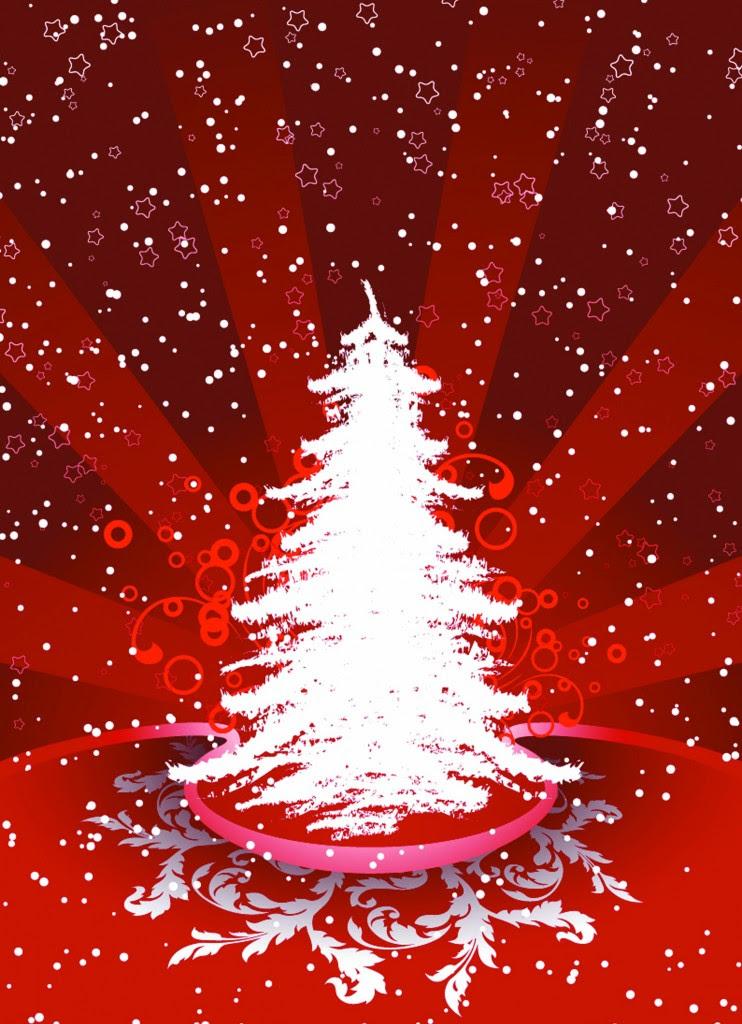 albero di natale rosso 742x1024 Cartoline di Natale nuove per i vostri auguri
