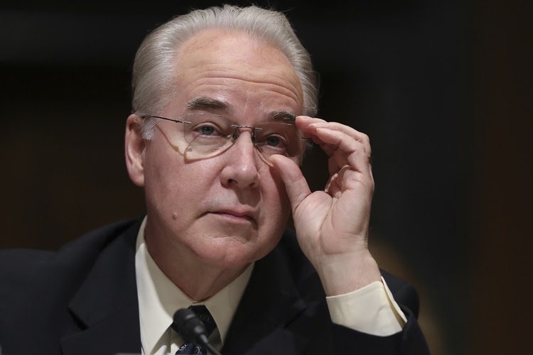 Tom Price testifies during his confirmation hearing before the Senate Finance Committee. (Andrew Harnik/AP)</p>