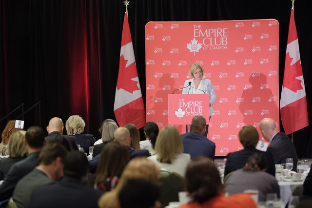 Premier Rachel Notley speaks at the Empire Club of Canada in Toronto on Sept 2, 2015