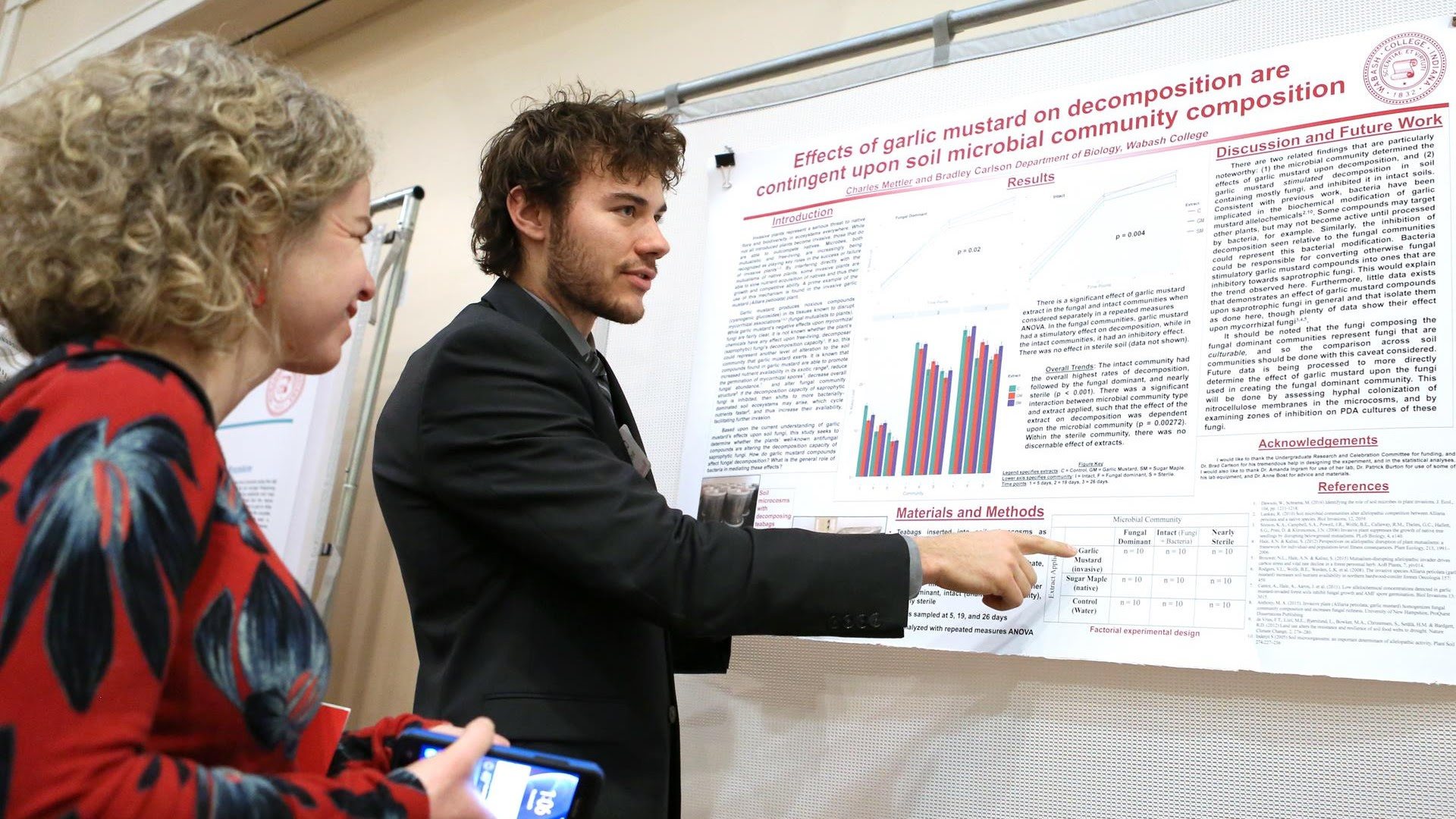 Professor Amanda Ingram listens as Wabash College student explains his project during the Celebration of Student Research earlier this year. Mettler was one of 49 Wabash student-athletes named to the 2017-18 NCAC Academic Honor Roll