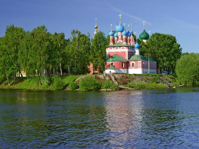 Church of                                                           Dmitry on                                                           Blood in                                                           Uglich,                                                           Russia, stands                                                           out with its                                                           blood-red                                                           walls and                                                           sky-blue onion                                                           domes. Placed                                                             at the                                                           confluence of                                                           the Kamenny                                                           stream and the                                                           Volga River,                                                           the church was                                                           built on the                                                           site of the                                                           death of                                                           Prince                                                           Tsarevich                                                           Dmitry.