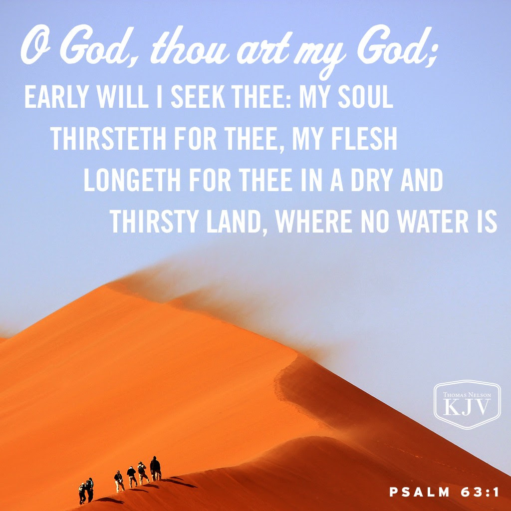 1 O God, thou art my God; early will I seek thee: my soul thirsteth for thee, my flesh longeth for thee in a dry and thirsty land, where no water is. Psalm 63:1