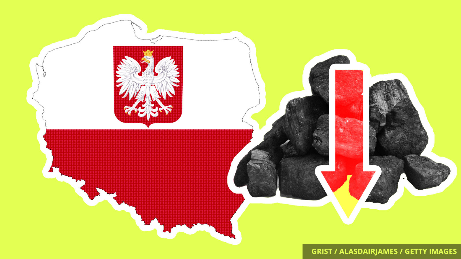 A cut out of Poland next to a a down arrow and a pile of coal.