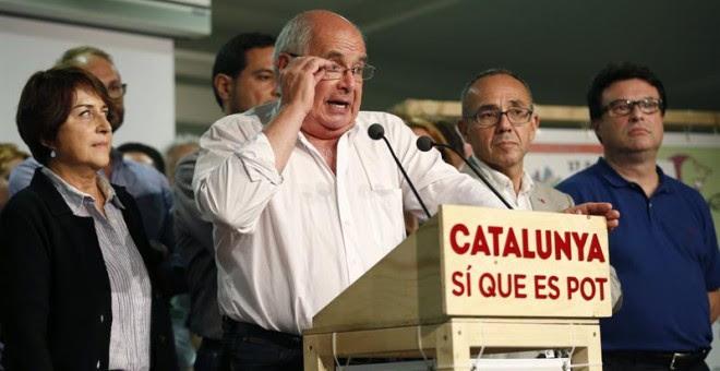 El candidato de Catalunya Sí que es Pot, Lluís Rabell, durante la rueda de prensa que ha ofrecido para valorar los resultados obtenidos en las elecciones catalanas./ EFE