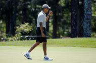President Obama played golf this month at Farm Neck Golf Club in Oak Bluffs, Mass., during his annual summer vacation to Martha's Vineyard.