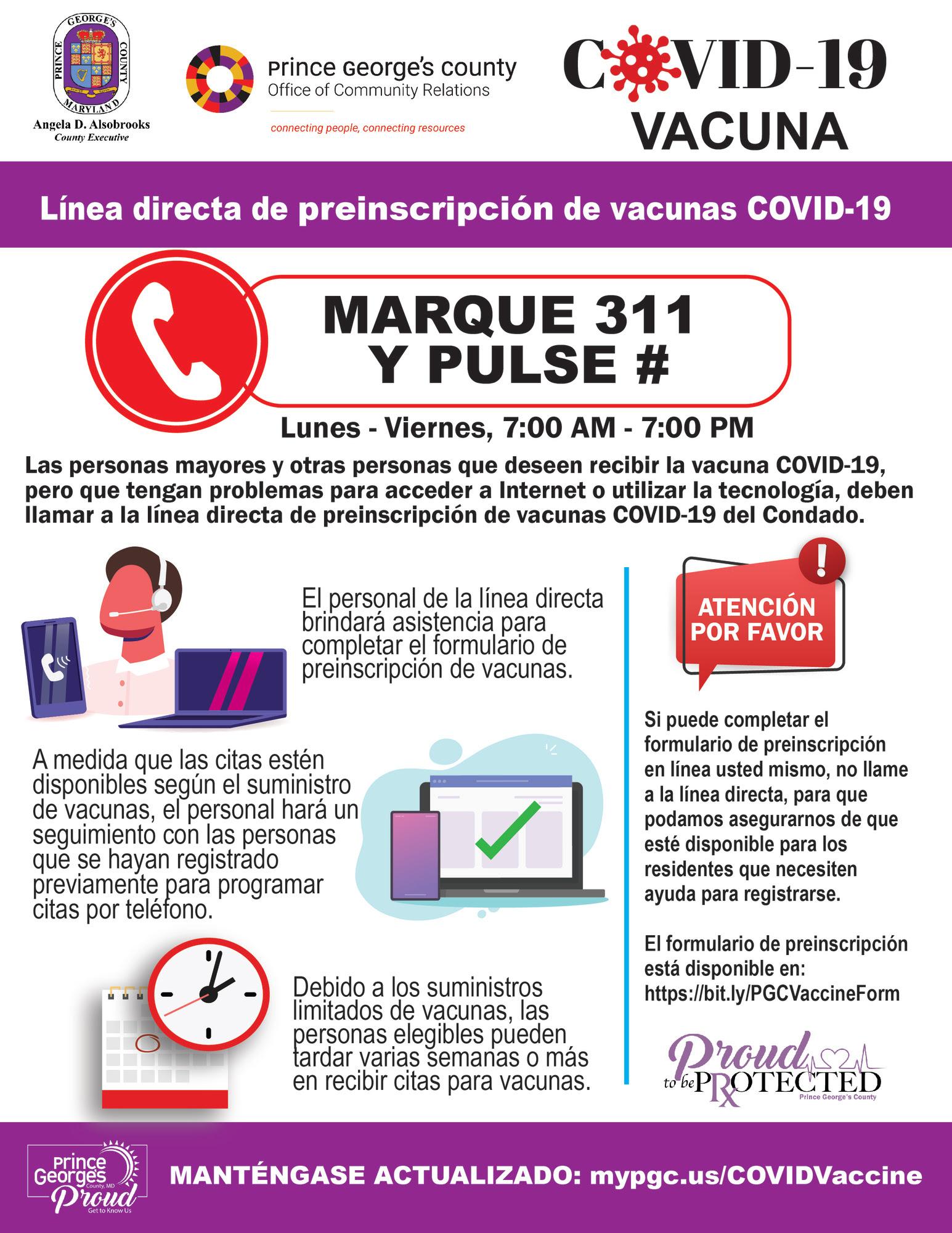 covid 311 spanish