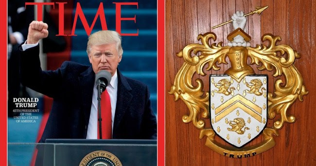 Trump proudly features the penetrating spear tip on his family's coat of arms and made the hand gesture numerous times upon winning the presidential election (foto Before It's News)