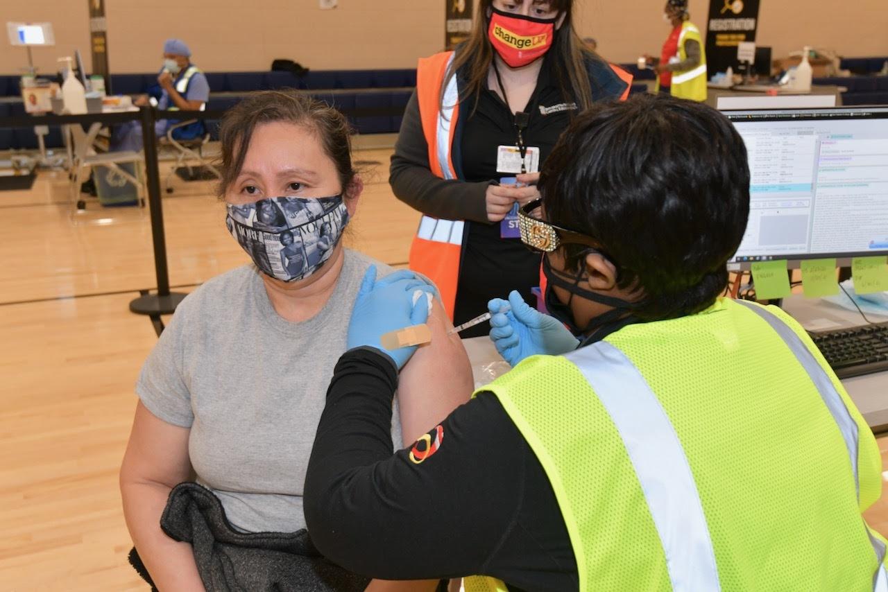 person receives vaccine