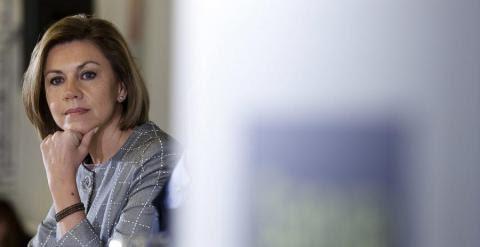 Maria Dolores de Cospedal durante su intervención en un desayuno informativo en Cuenca. EFE