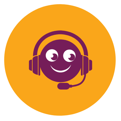 Happy face with headset icon