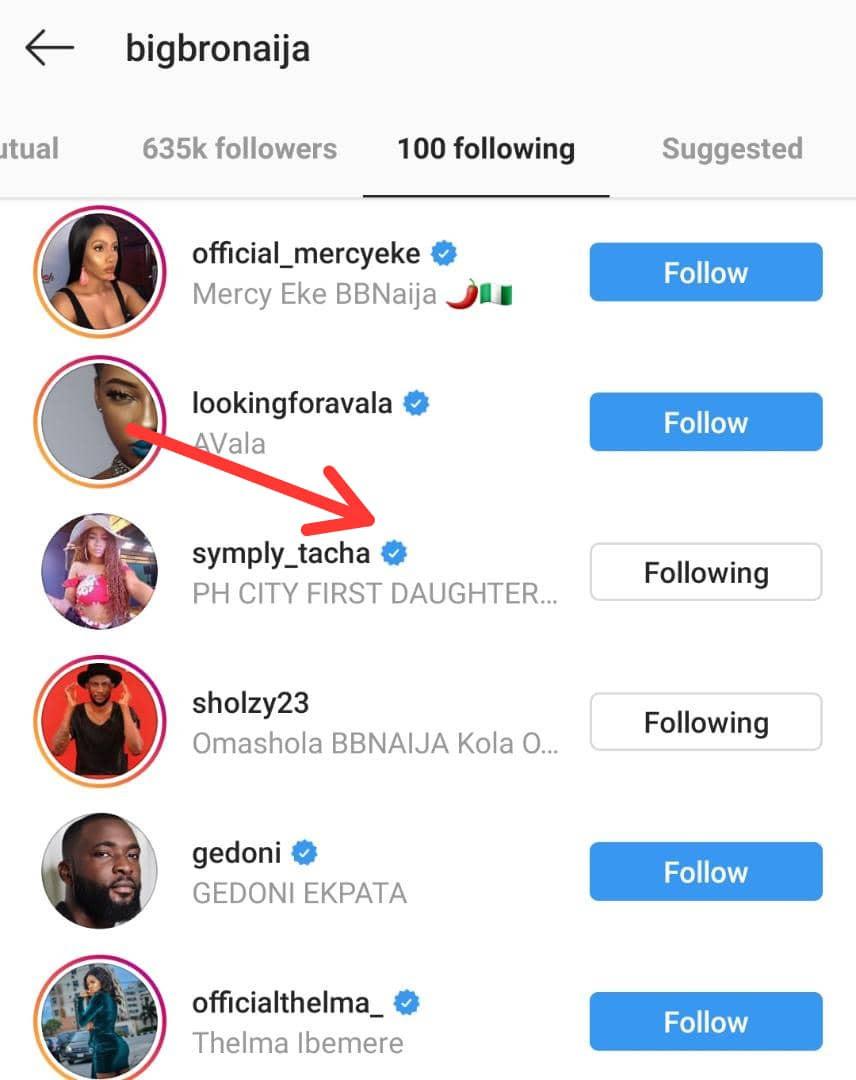 Tacha unfollows Big Brother Naija on Instagram