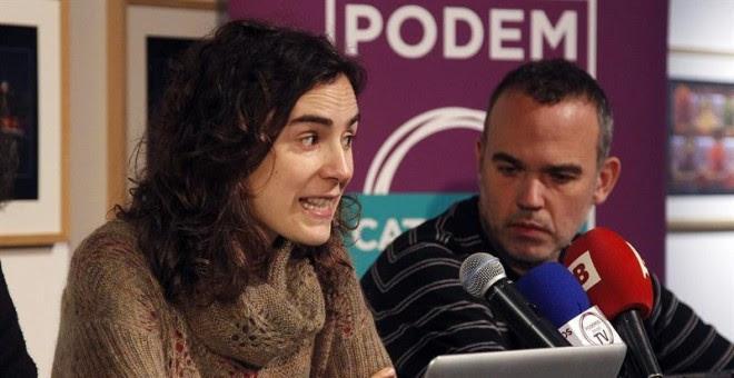 La secretaria general autonómica de Podem Catalunya, Gemma Ubasart y Jordi Bonet, durante la rueda de prensa que ofreció hoy en Barcelona para presentar al equipo de personas que forman parte del Consell Ciutadà Autonòmic