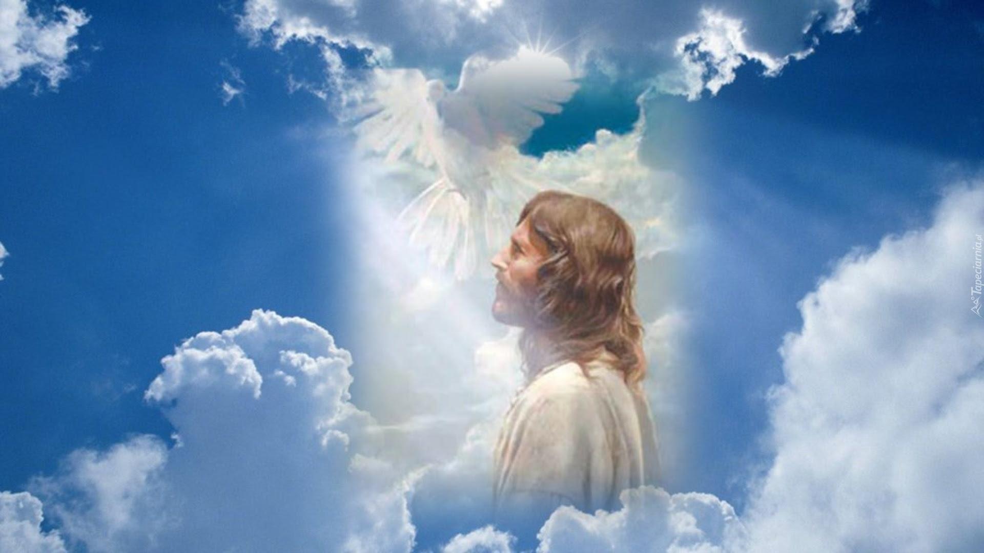 Jezus, Światło, Chmury, Gołąb