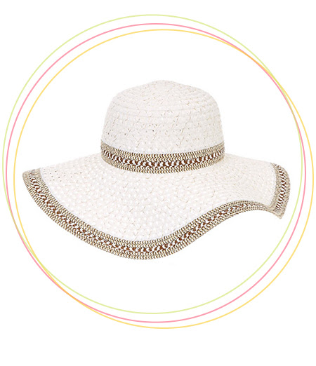 White and Gold Tinsel Wide Brimmed Straw Hat