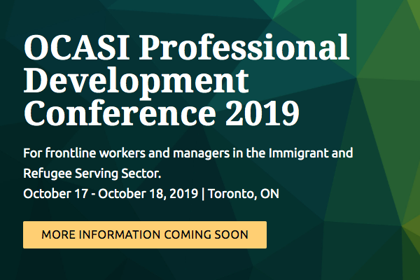 Web banner of OCASI PD Conference 2019