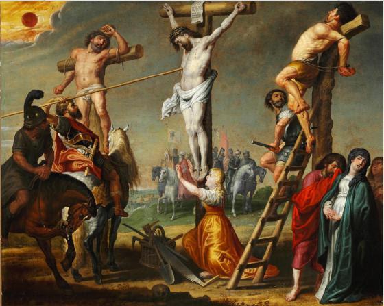 Gerard de la Vallee - Longinus piercing Christ's side with a spear