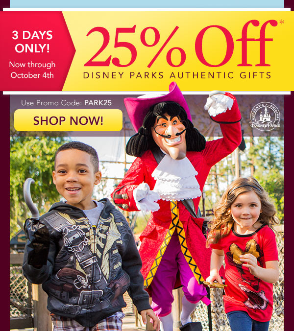 3 DAYS ONLY! 25% Off* Disney Parks Authentic Gifts - Use Promo Code: PARK25 - SHOP NOW