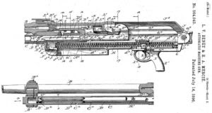 1896-dated patent for early version of the Hotchkiss machine gun, with nlong stroke gas operated action