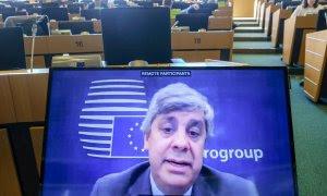 El presidente del Eurogrupo, el portugués Mário Centeno. en una rueda de prensa telemática. EFE/EPA/OLIVIER HOSLET
