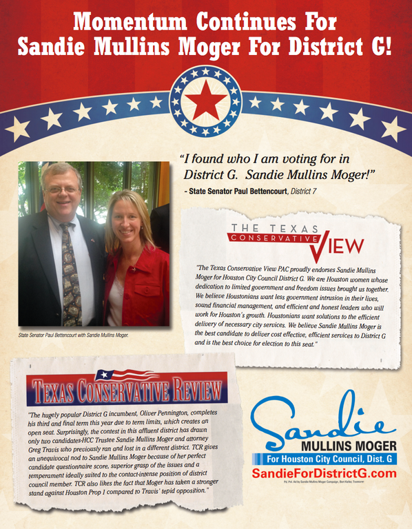 State Sen. Paul Bettencourt endorses Sandie Mullins Moger for District G