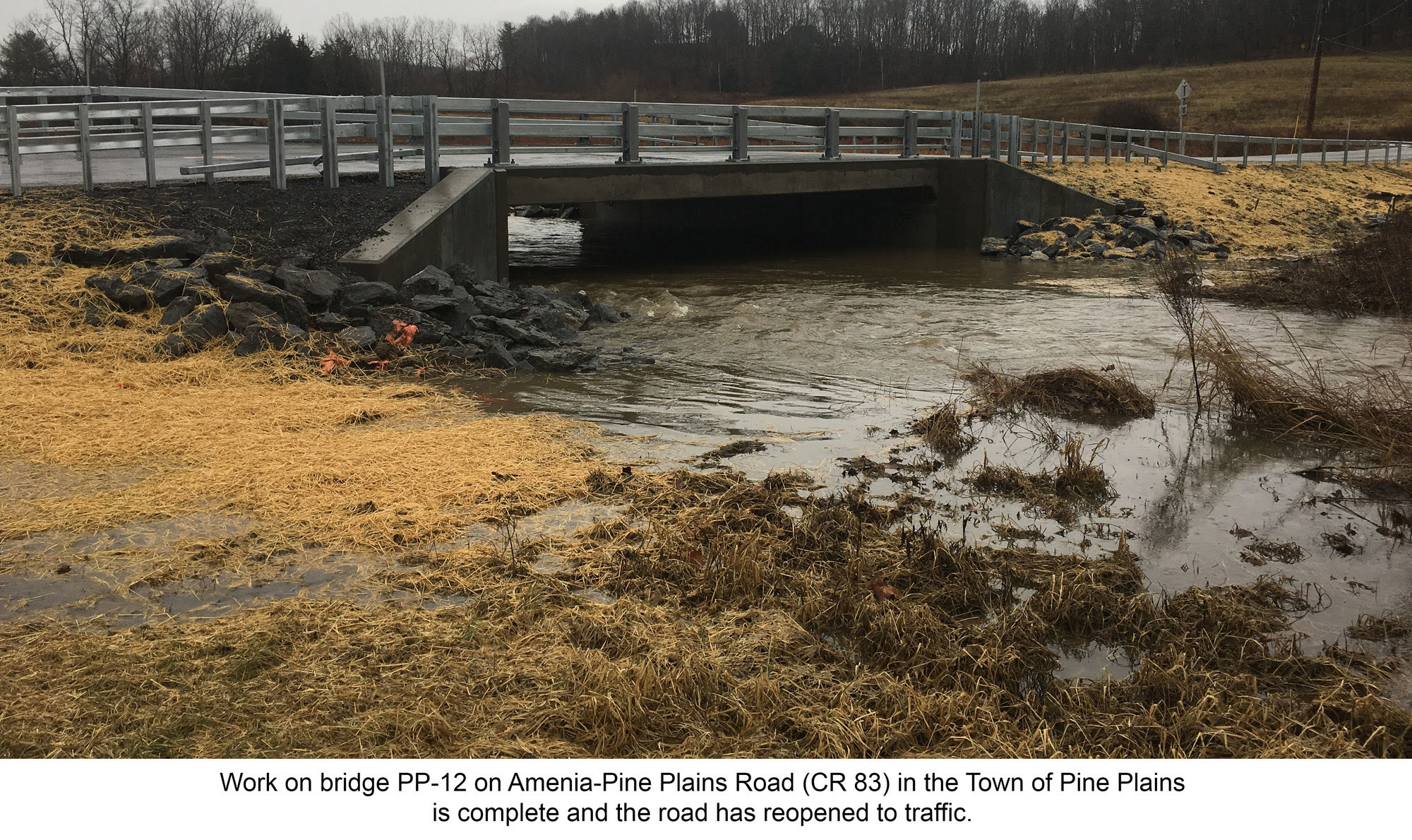 work on bridge PP-12 on Amenia-Pine Plains Road (CR 83) in the Town of Pine Plains is complete and the road has reopened to traffic.